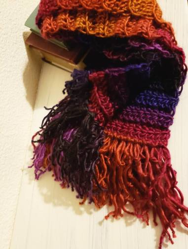 Crochet scarf made with Lion Brand Landscapes yarn in Volcano