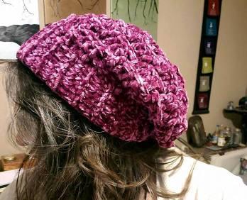 velvet basket weave beanie slouch crocheted with bernat velvet yarn in burgundy plum