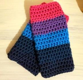 beginner crochet wrist warmers made with caron x pantone yarn