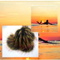 black yellow magenta surfer sunset pom pom made by 'ohana boutique