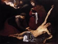 St. Sebastian Tended by the Holy Women, Guissepe de Ribera, 1621, Naples, oil on canvas. Museo de Bellas Artes, Bilbao, Spain.