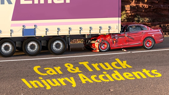 Car and truck injury accident