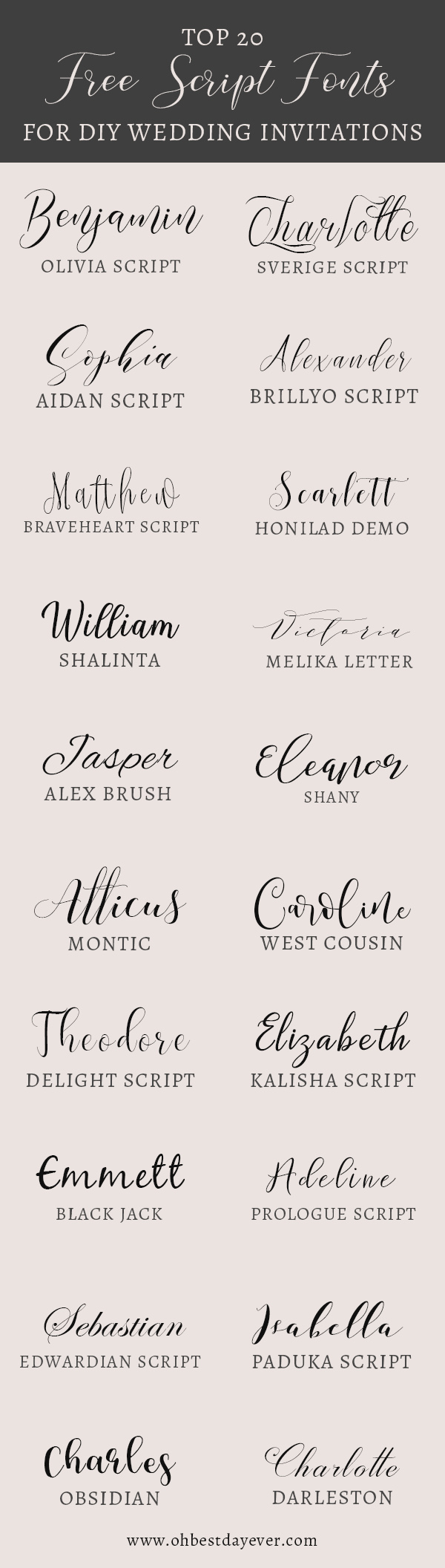 Wedding Invitation Fonts Archives Oh Best Day Ever