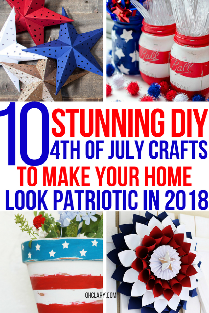 10 Easy 4th of July Crafts to Make in 2018. Fourth of July is the perfect time to do some DIY projects to celebrate America! Make your house look patriotic with these simple red white and blue crafts. You can find 4th of July wreaths, centrepieces, firecrackers and all other 4th of July decor here. Most of these 4th of July crafts can be made by kids and toddlers. 4th of July crafts kids, 4th of July Crafts DIY, 4th of July crafts preschoolers, 4th of July centerpieces #4thofjulydecorations #4thofjulydecor