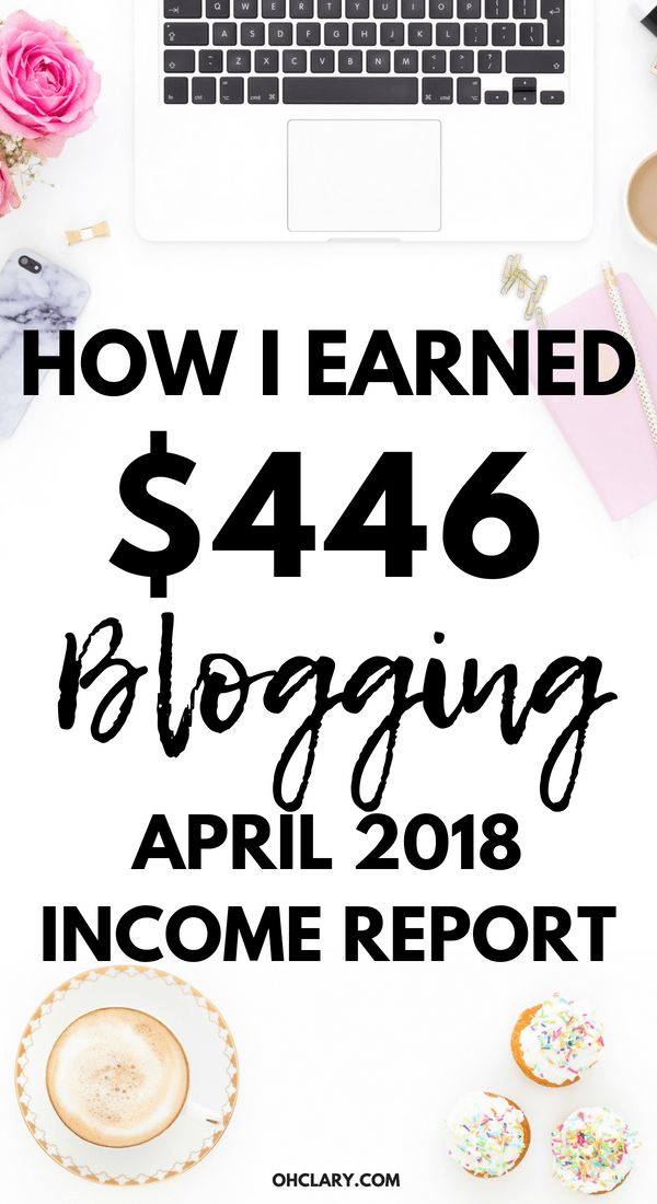 April 2018 Blogging Income Report - How I made $446 and achieved 50 009 page views in my third month of blogging. I am sharing my third month income report to inspire you to start a blog of your own. You CAN make money as a brand new blogger. April 2018 Blog Income Report, April income report, blog income report 2018, third blog income report, how to make money online, blogging income report, new blog income report, monthly income report, how bloggers make money#bloggingtips#makemoneyblogging #incomereport