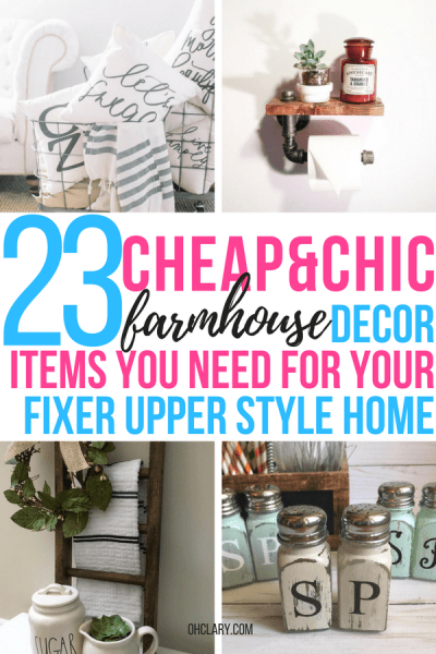 Are you looking for cheap farmhouse decor items but don't know where to buy farmhouse decor on a budget? I've got just the list for you! I have gathered all of my favourite rustic and vintage farmhouse decor items to this list. From beautiful farmhouse wall art to kitchen accessories! Get the fixer-upper look for cheap! Farmhouse decor living room, Joanna Gaines approved, Modern farmhouse decor #farmhousedecor #farmhousekitchen #farmhousebedroom
