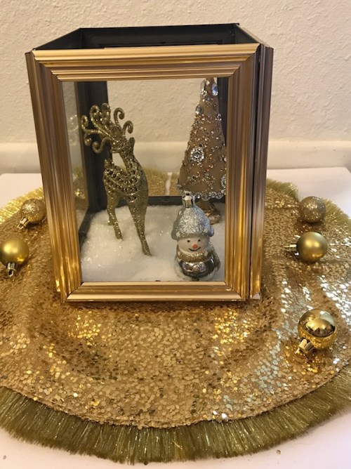 Dollar Tree Christmas Decor Golden Snow Scene by Prudent Penny Pincher - 30 Incredible Dollar Store DIY Christmas Decor Ideas. Easy to make decorations that you can do on a small budget. Make beautiful and easy centrepieces, ornaments, candle holders and mason jar crafts. These awesome Dollar Tree DIY Christmas crafts are simple enough to be made with your kids. Just click on this to find out more or pin for later!