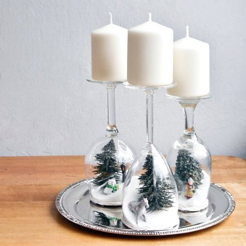 Let It Snow Dollar Store Wine Glass Globe by Popsugar - 30 Incredible Dollar Store DIY Christmas Decor Ideas. Easy to make decorations that you can do on a small budget. Make beautiful and easy centrepieces, ornaments, candle holders and mason jar crafts. You can decorate your home for less this Christmas of 2018! These awesome Dollar Tree DIY Christmas crafts are simple enough to be made with your kids. Just click on this to find out more or pin for later!
