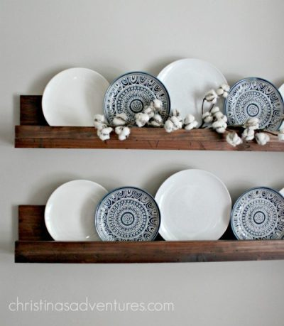 Simple DIY Ledge Shelf - Easy DIY Farmhouse Decor Ideas Using Dollar Store Items. These cheap DIY rustic decor projects are perfect for your fixer upper style home. #Farmhouse #FarmhouseDIYS #DIYFarmhouseProjects #DIYFarmhouseCrafts