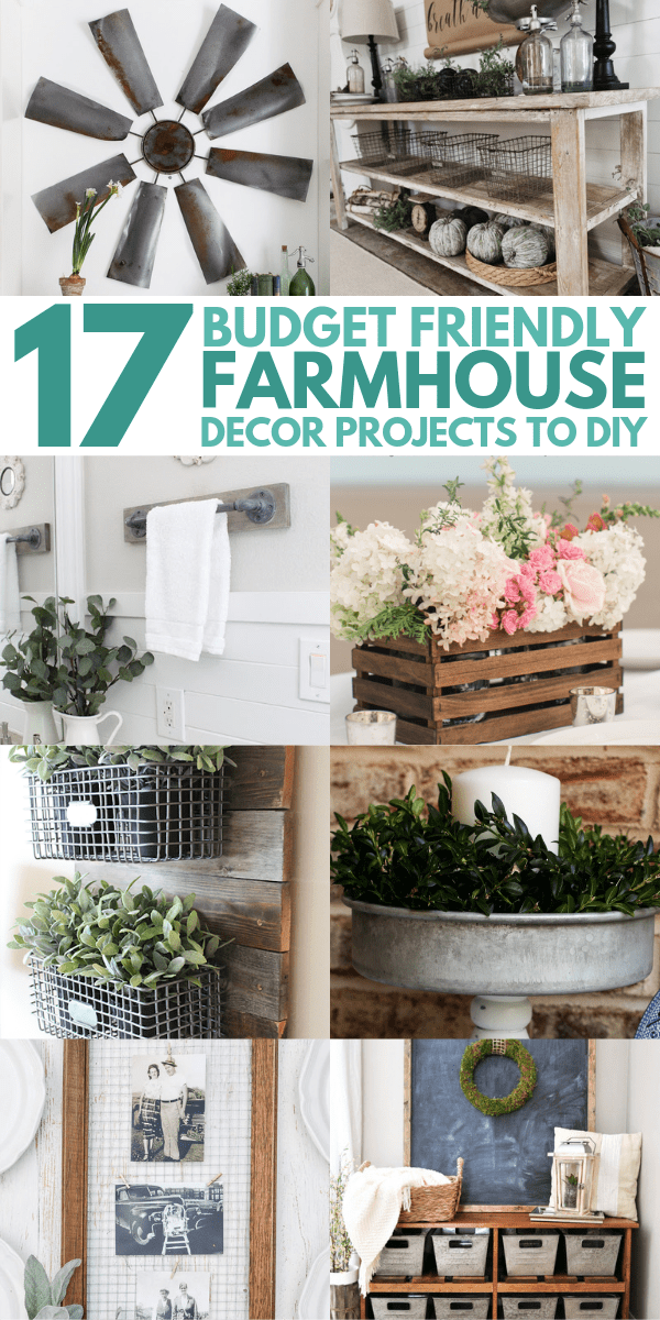 DIY Farmhouse decor ideas that are so easy to do you have no excuse not to try them! These cheap DIY rustic decor projects will change the look of your bedroom, mantle, living room, and bathroom on a small budget!