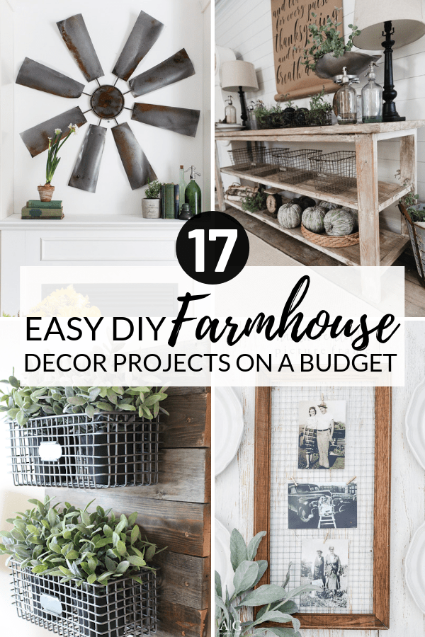 Easy DIY Farmhouse Decor Ideas Using Dollar Store Items. These cheap DIY rustic decor projects are perfect for your fixer upper style home. #Farmhouse #FarmhouseDIYS #DIYFarmhouseProjects #DIYFarmhouseCrafts