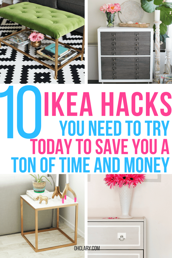 These 10 DIY IKEA Hacks will save you so much money on your furniture! Find some amazing IKEA storage ideas, IKEA bedroom ideas and IKEA bathroom ideas from this list of hacks. Never again spend money on high-end furniture, instead, hack the cheap IKEA items you already own! DIY IKEA living room hacks, IKEA bar, IKEA Rast Hack, IKEA Kallax hack, IKEA nightstand, IKEA bedroom, IKEA desk hack, IKEA dresser #ikeahacks #ikeahack #ikea #ikeabedroom