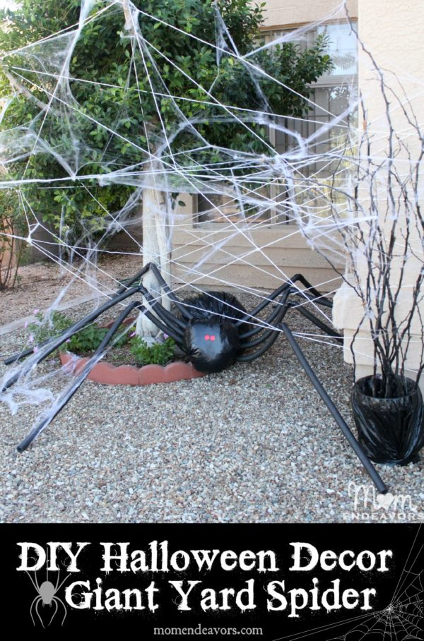 DIY Giant Spider In Spider Web- The Best DIY Halloween decorations for outdoor and yard to turn your porch into a haunted house. How to make graveyards, spider webs, chicken wire ghosts and other awesome and scary. These are so easy to make even kids can do them. #halloween #halloweendecorations