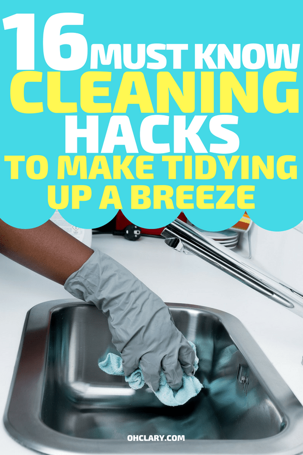 Cleaning Hacks and Cleaning Tips that will change your life! Cut the time it takes to clean in half with these clever cleaning tips and tricks and lifehacks. These are perfect for lazy girl s who hate cleaning. Cleaning is no fun but these clever home cleaning hacks will make it so much easier and more enjoyable so you have more time to do the things you love to. #cleaning #cleaningtips