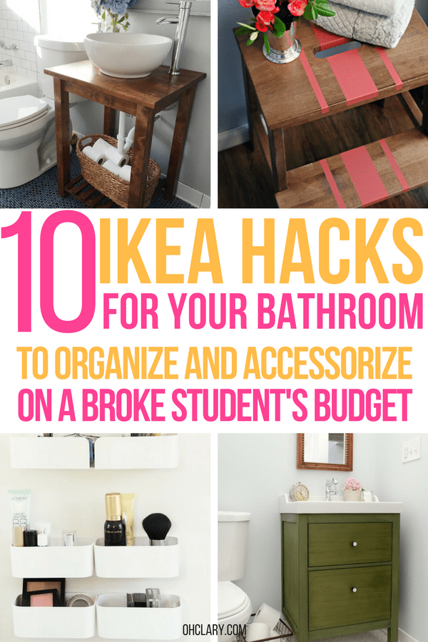 10 IKEA Bathroom Hacks and Organization Ideas. Are you looking to change the look of your bathroom but can only afford IKEA items? You've come to the right place! Find my list of 10 IKEA bathroom hacks for ideas and inspiration. Ikea bathroom cabinet | Ikea bathroom vanity | Over the toilet storage Ikea | Ikea bathroom ideas | DIY Ikea bathroom | Ikea bathroom sink | Ikea bathroom hacks small spaces | Ikea bathroom storage #ikeahacks #ikeaideas #ikeabathroom #ikeavanity
