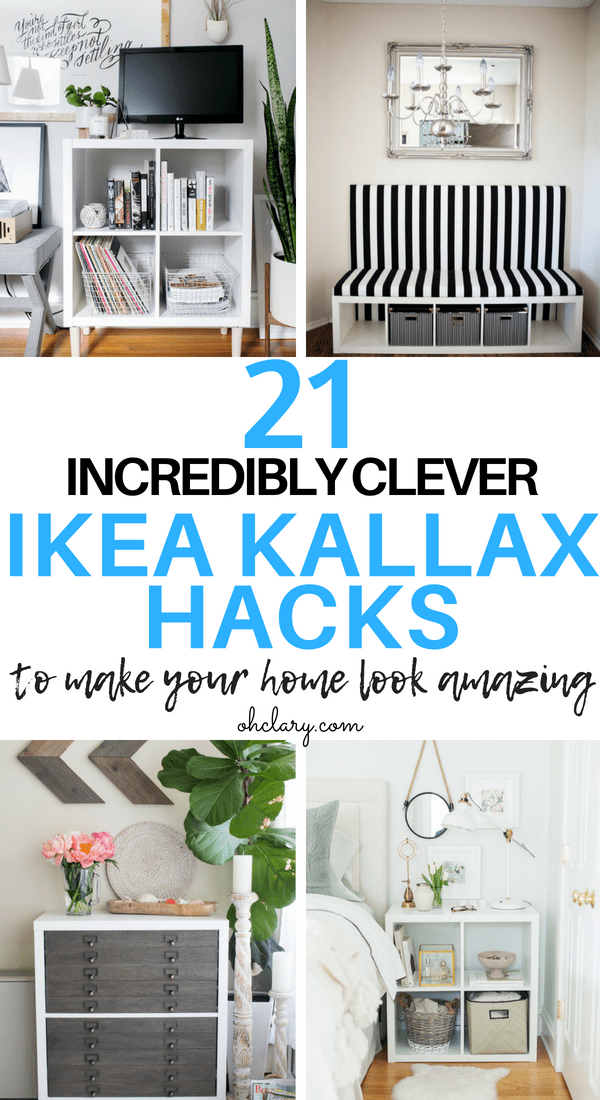 21 genius DIY IKEA Kallax hacks to organize your bedroom, playroom, kitchen, entryway, closet, and office. These hacks include tv stands, benches, desks, bedside tables and of course Ikea bar carts. Redo your entire home with these clever hacks that are affordable and easy to make. #ikeahack #ikeakallax #kallax #ikeafarmhouse #ikeaideas #ikea #ikeabar