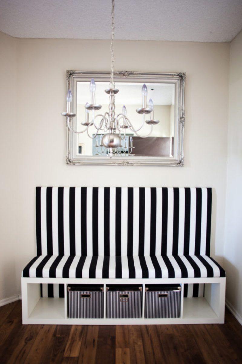 DIY Banquette Seat - 21 genius DIY IKEA Kallax hacks to organize your bedroom, playroom, kitchen, entryway, closet, and office. #ikeahack #ikeakallax #kallax #ikeafarmhouse #ikeaideas #ikea