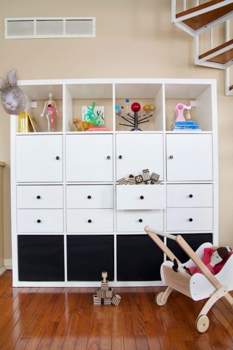 Kallax Toy Storage Cabinet - 21 genius DIY IKEA Kallax hacks to organize your bedroom, playroom, kitchen, entryway, closet, and office. #ikeahack #ikeakallax #kallax #ikeafarmhouse #ikeaideas #ikea