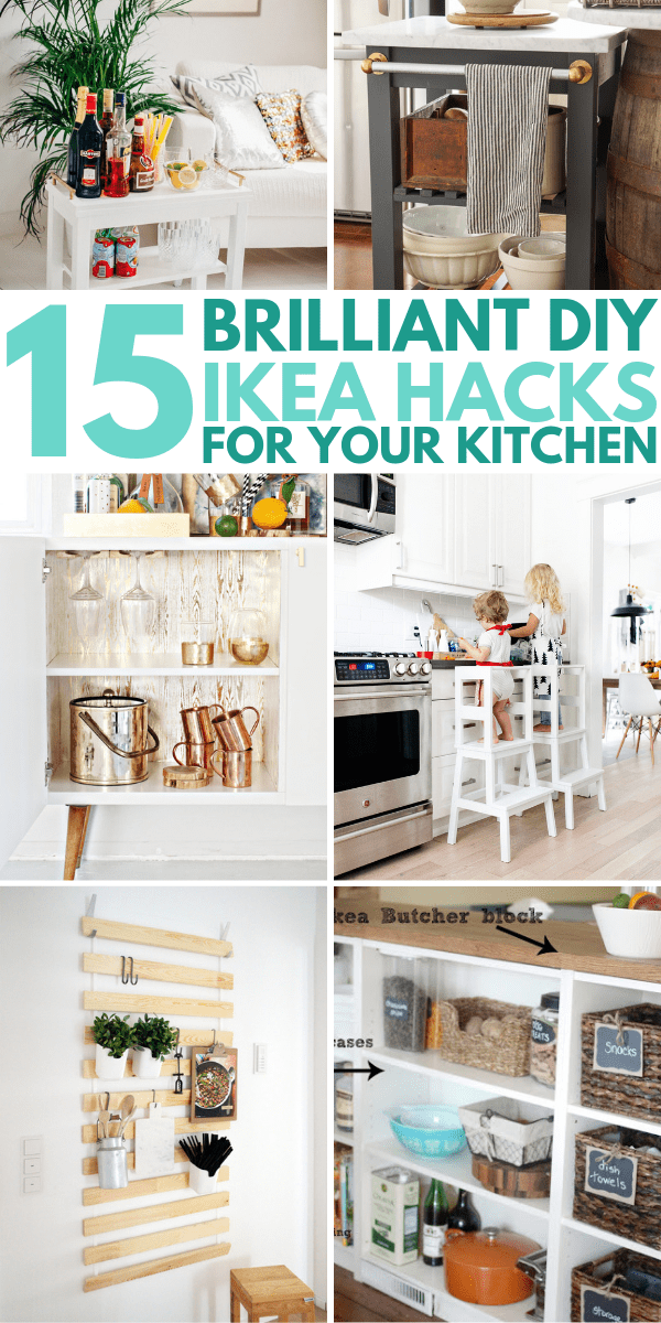 15 IKEA Kitchen Hacks For A More Organized And Beautiful Kitchen On A Budget. DIY projects to increase the storage in small spaces and apartments. Click to find out more!