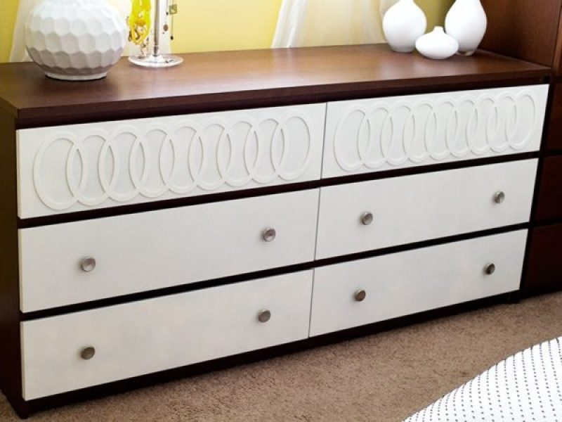 DIY Ikea Malm Midcentury Dresser hack - 14 Genius Ikea Malm Hacks. From 5 minute changing out handles to spray painting the dresser. Make the malm into a dresser, nightstand, vanity, kitchen island or kids dresser. Or you could even add mirror overlays and gold paint for a glamorous look or turn it into a mid-century masterpiece. #ikeahack #ikea #ikeahacks #malm #malmdresser #diyhomedecorideas #diyhomedecor