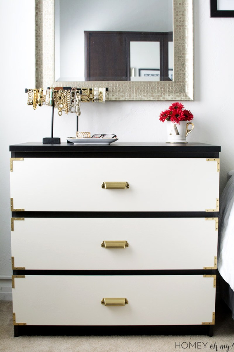 Campaign Style Dresser - 14 Genius Ikea Malm Hacks. From 5 minute changing out handles to spray painting the dresser. Make the malm into a dresser, nightstand, vanity, kitchen island or kids dresser. Or you could even add mirror overlays and gold paint for a glamorous look or turn it into a mid-century masterpiece. #ikeahack #ikea #ikeahacks #malm #malmdresser #diyhomedecorideas #diyhomedecor