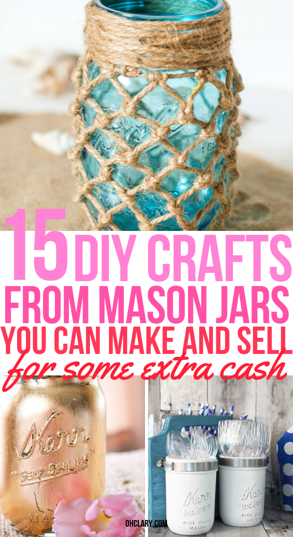 15 DIY Mason Jar Crafts To Sell For Extra Money. Creative and unique easy DIY crafts you can make using dollar stores items and sell for a nice profit at craft fairs, flea markets or on Etsy. Making easy mason jar craft ideas is a great way to make some extra money for Christmas. Make them with your kids or teens and sell for extra cash or even use at your own home as home decor. #crafts #diyhomedecor #workfromhome