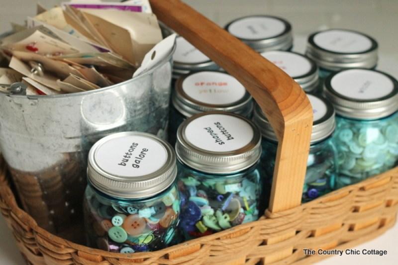 DIY Mason Jar Button Organizer - Incredibly Clever Mason Jar Organization Ideas. Organize your entire home using mason jars. #masonjars #masonjar #masonjarorganization #organization #diyhomedecorideas #masonjarcrafts