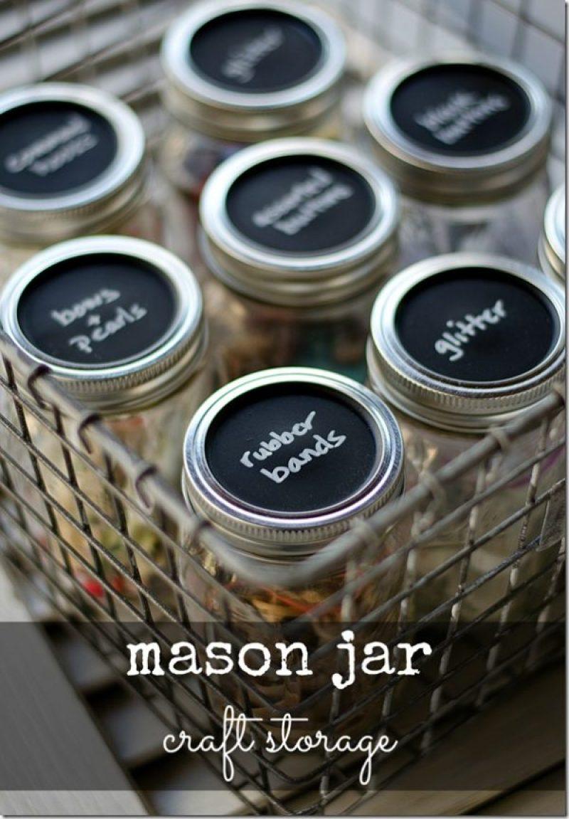 Mason Jar Craft Storage - Incredibly Clever Mason Jar Organization Ideas. Organize your entire home using mason jars. #masonjars #masonjar #masonjarorganization #organization #diyhomedecorideas #masonjarcrafts