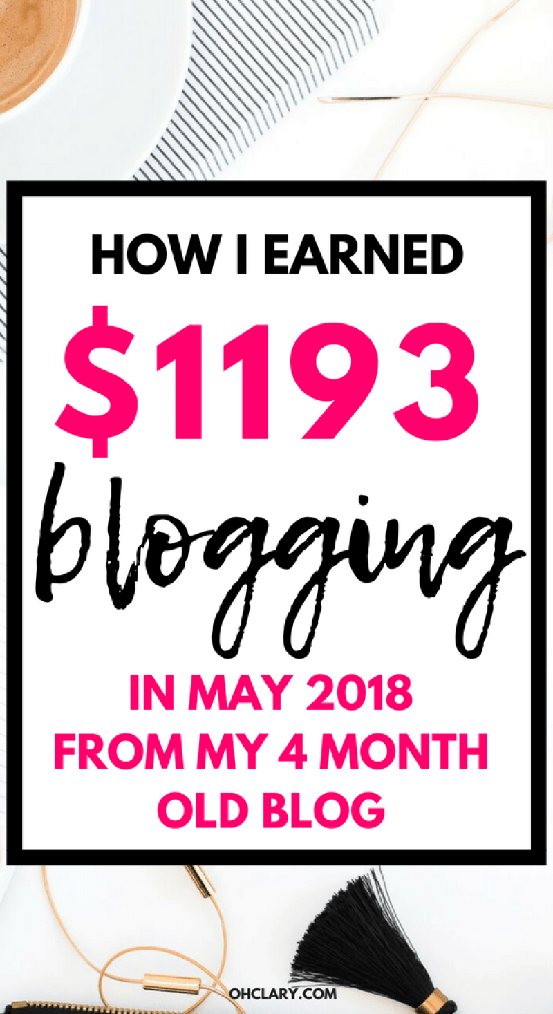 May 2018 Blog Income Report - How I Made $1193.77 my Fourth month of blogging. How I made money this month with my blog. I will show you how to make money blogging for beginners. Earn extra income while working from home and make money blogging. #bloggingforbeginners #incomereport #bloggingformoney #blogincomereport
