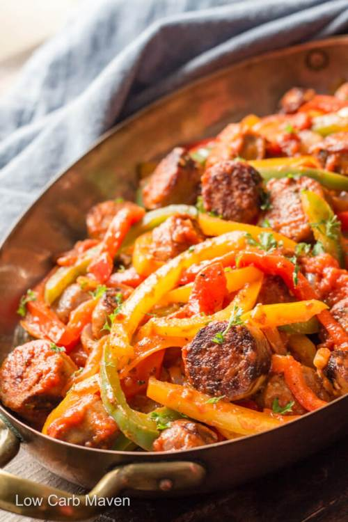 Keto Italian Sausage, Peppers, and Onions With Sauce - 22 Of The Best Quick Keto Dinner. You won't believe how easy and delicious these recipes are. Low Carb recipes that can be made in the crockpot or a skillet. All of these drool-worthy recipes take 30 minutes or less to make. #keto #ketogenic #ketodiet #ketorecipes #dinnerrecipes #ketogenicdiet
