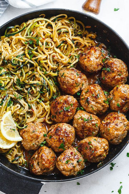 Low Carb Garlic Butter Turkey Meatballs With Lemon Zucchini Noodles - 22 Of The Best Quick Keto Dinner. You won't believe how easy and delicious these recipes are. Low Carb recipes that can be made in the crockpot or a skillet. All of these drool-worthy recipes take 30 minutes or less to make. #keto #ketogenic #ketodiet #ketorecipes #dinnerrecipes #ketogenicdiet