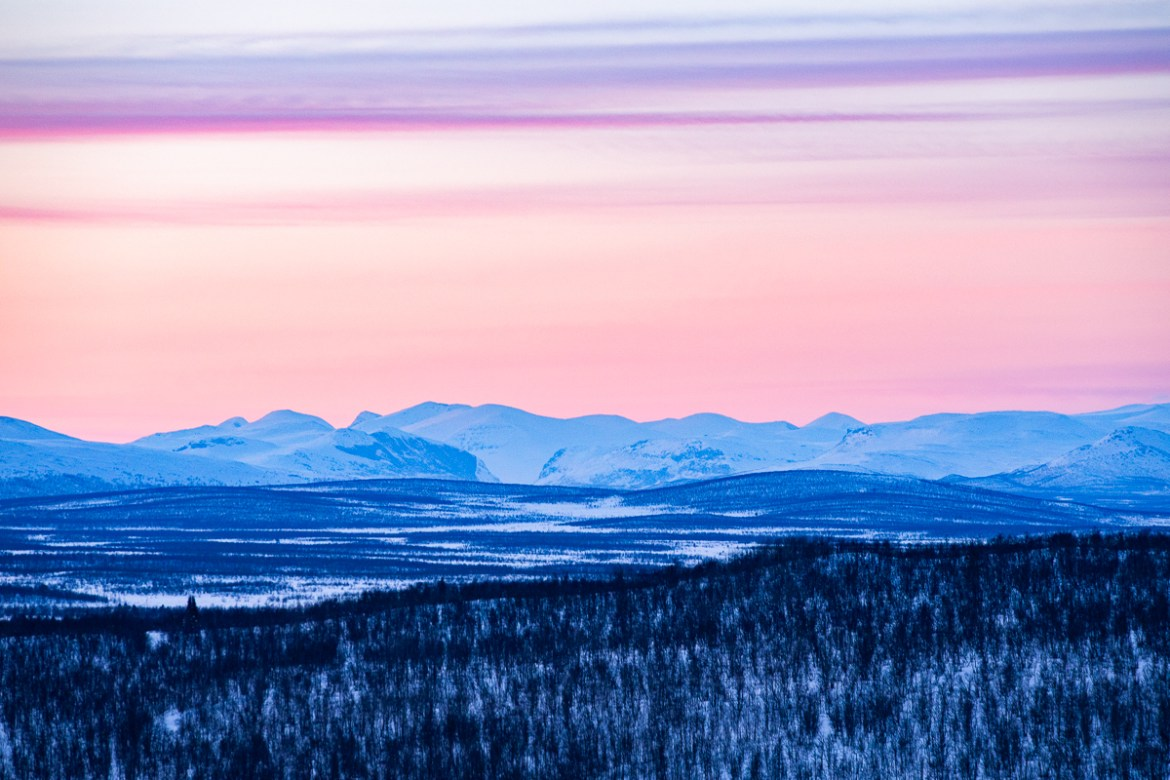 Winter in Kiruna - The view from Loussabacken in Kiruna.