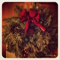 Our Christmas wreath, still hangin' in there. (This picture was taken in March of 2012.)