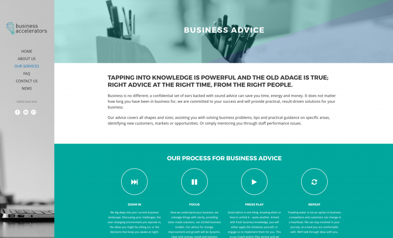 Business Accelerators website design