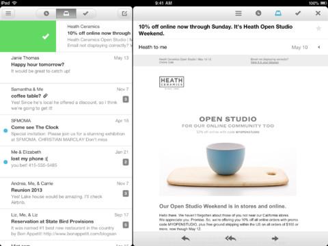 Mailbox for iPad main menu