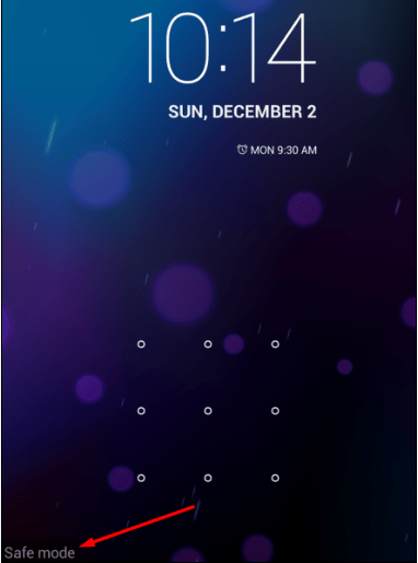 Android Safe Mode Lock Screen