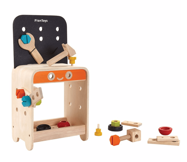 plantoys work bench, imaginative play, pretend play, open ended toys