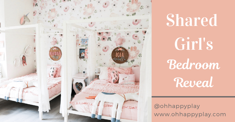 Shared girl room, shared girl room bedroom ideas, shared girl bedrooms, shared girl room, shared tween girl bedroom ideas, shared teenage girl bedroom ideas, sisters bedroom, bedroom storage, bedroom design for girls, shared girl bedroom dividers, shared bedroom organization, shared bedroom layout , floral shared girl room, whimsical shared girl room