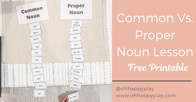 Common and proper noun worksheet, common and proper noun examples, what is a proper noun, what is a common noun, proper noun for kids, common noun examples, fun with common and proper noun, common and proper noun montessori lesson,