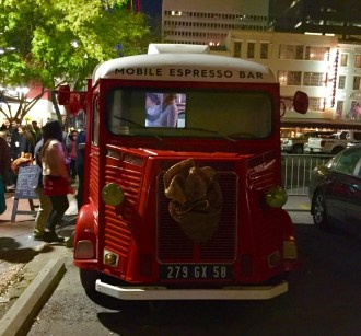 Little red vintage coffee truck.
