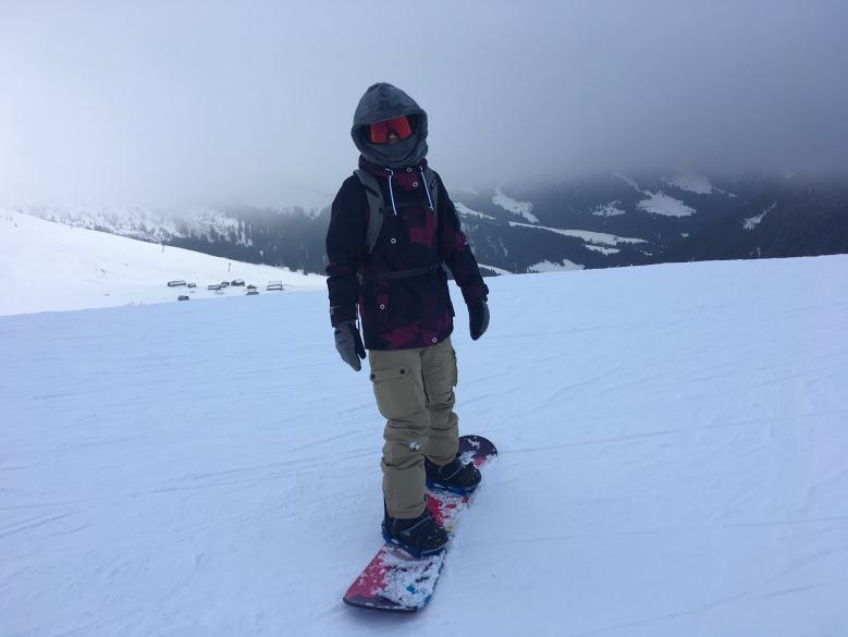 snowboarding in megeve