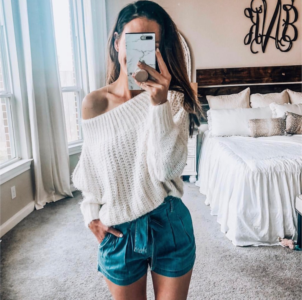 High Rise Belted Pleated Shorts and Off the Shoulder Sweater