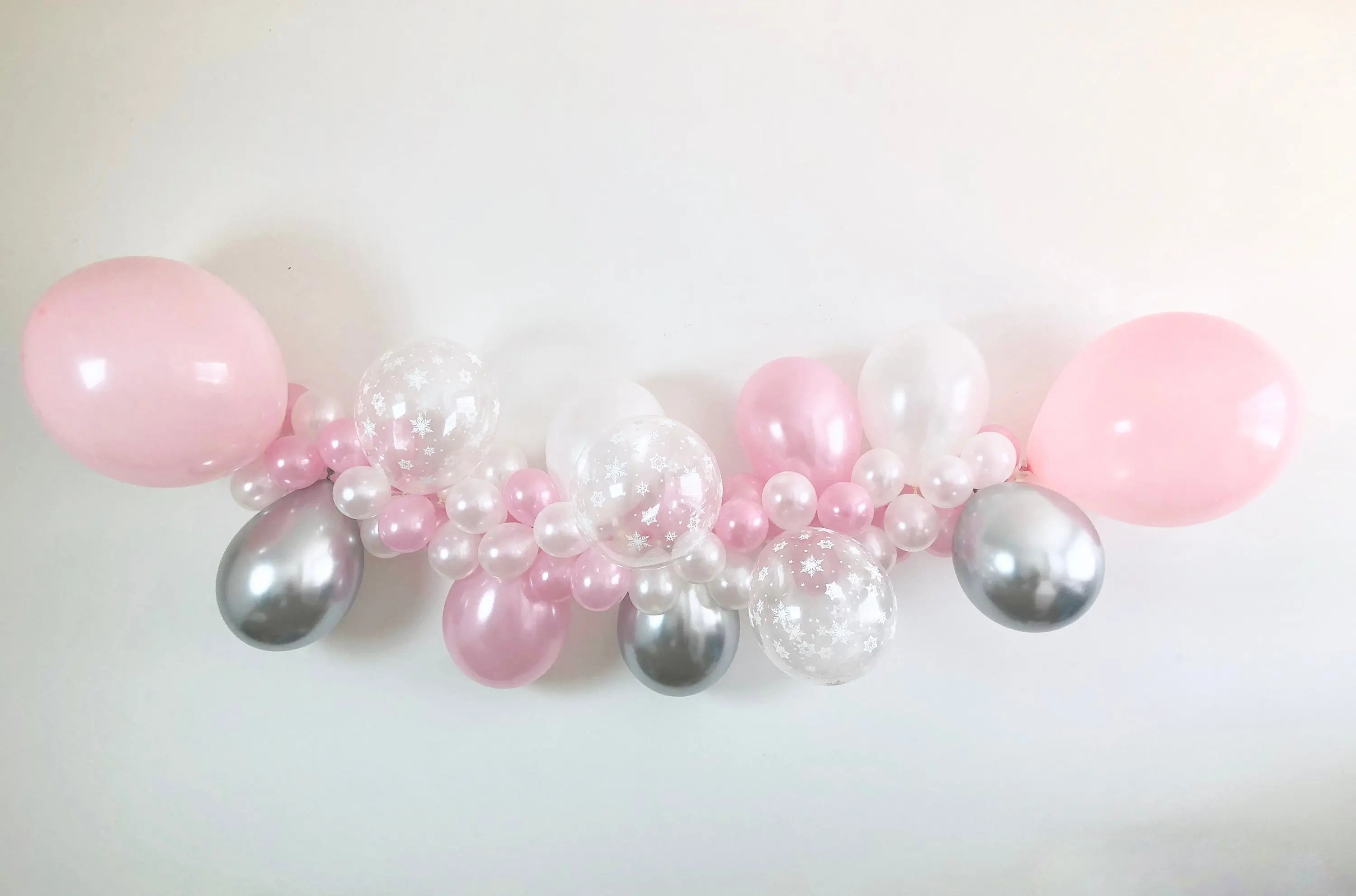 Chrome Silver, Pearl Pink, Snowflake, Pearl White DIY Balloon Garland Kit