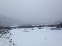 It was a foggy day in the mountain with snow clouds