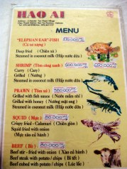 Lunch menu.