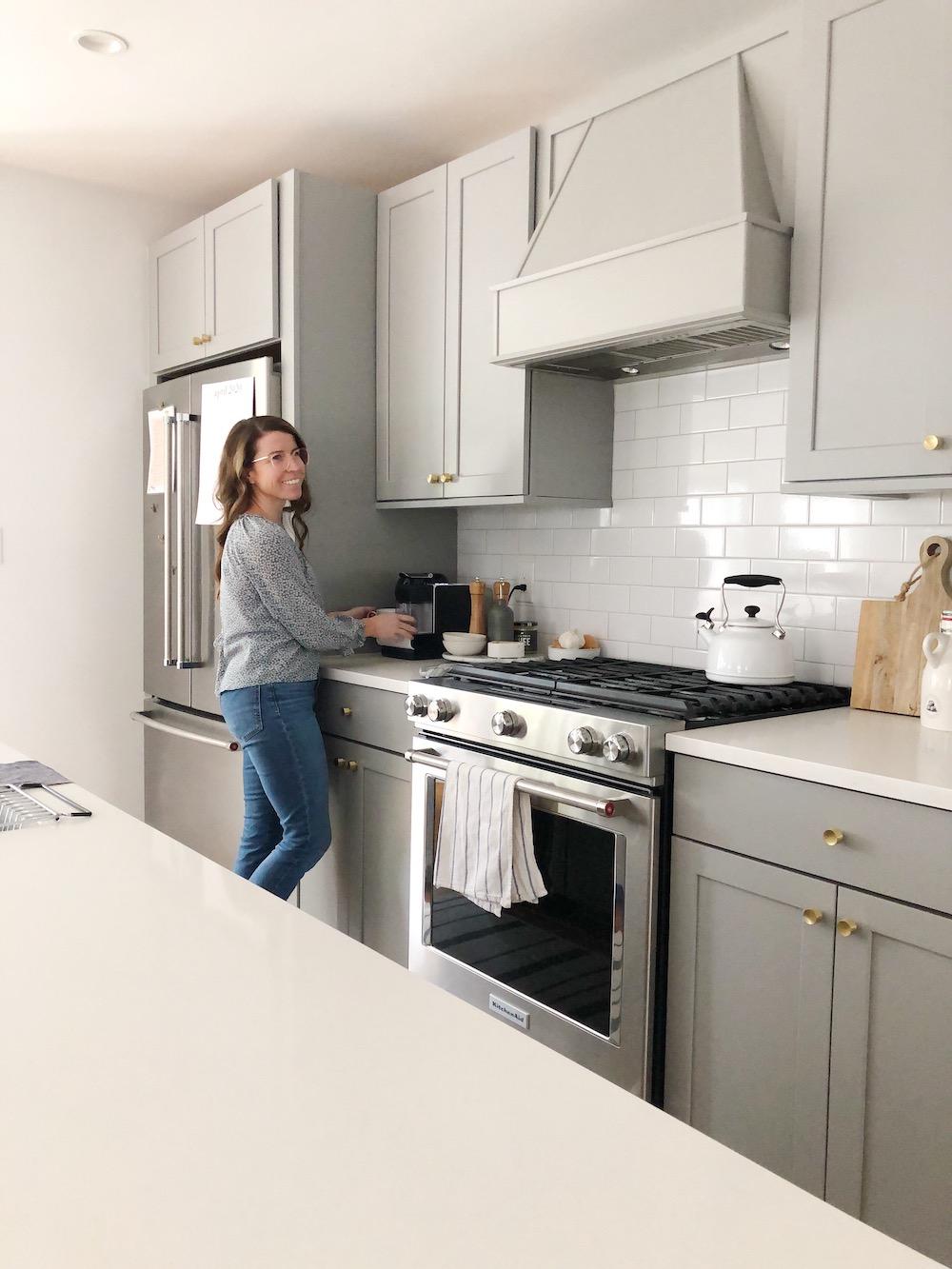 modern grey kitchen with coffee