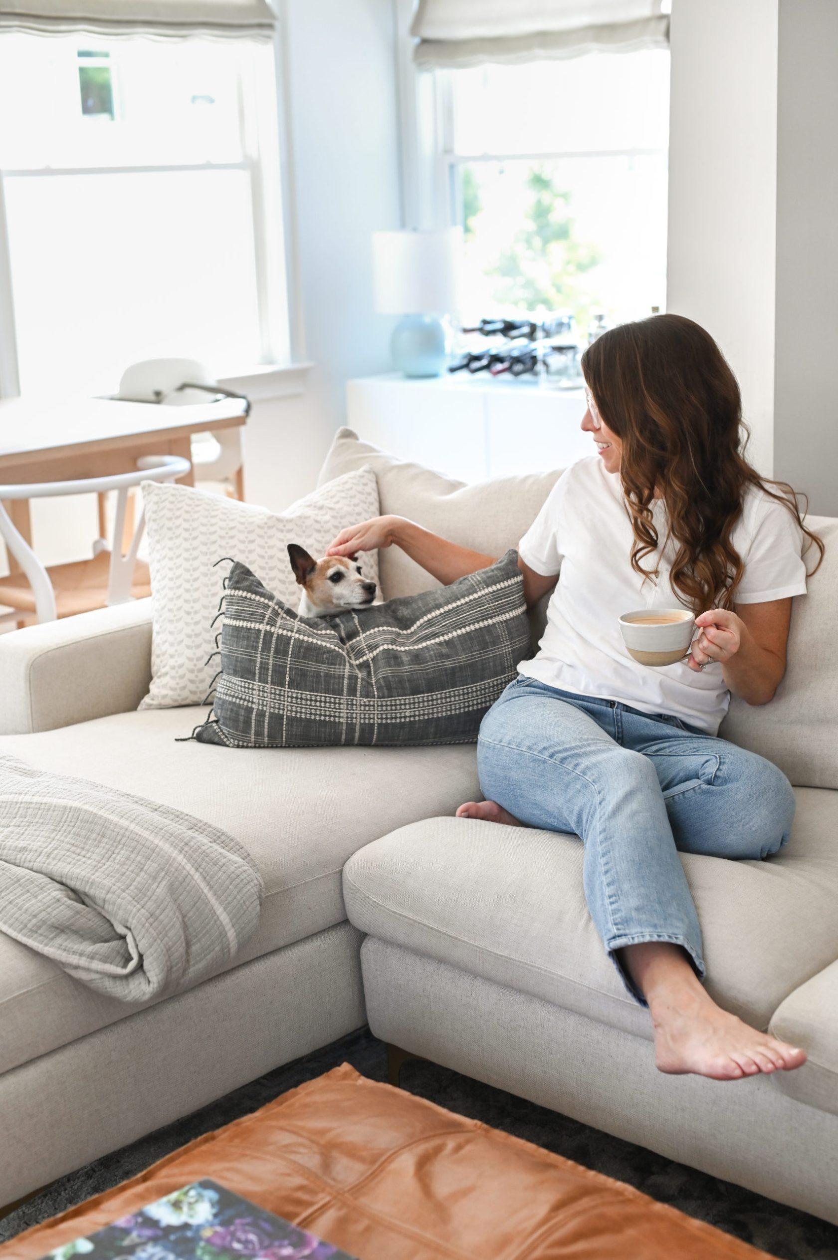Coffee on the sofa with dog