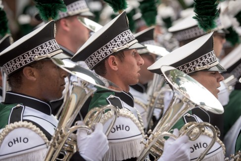 The Ohio University Marching 110 takes to the field during halftime during the homecoming matchup against Bowling Green at Peden Stadium in Athens, Ohio on Saturday, October 8, 2016.