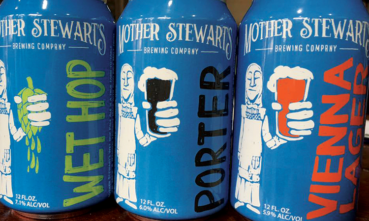 Mother Stewart's Brewing Company cans: Wet Hop, Porter, Vienna Lager