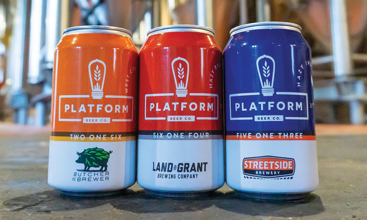 Platform Collaboration IPA cans - Butcher and the Brewr, Land-Grant Brewing, Streetside Brewery